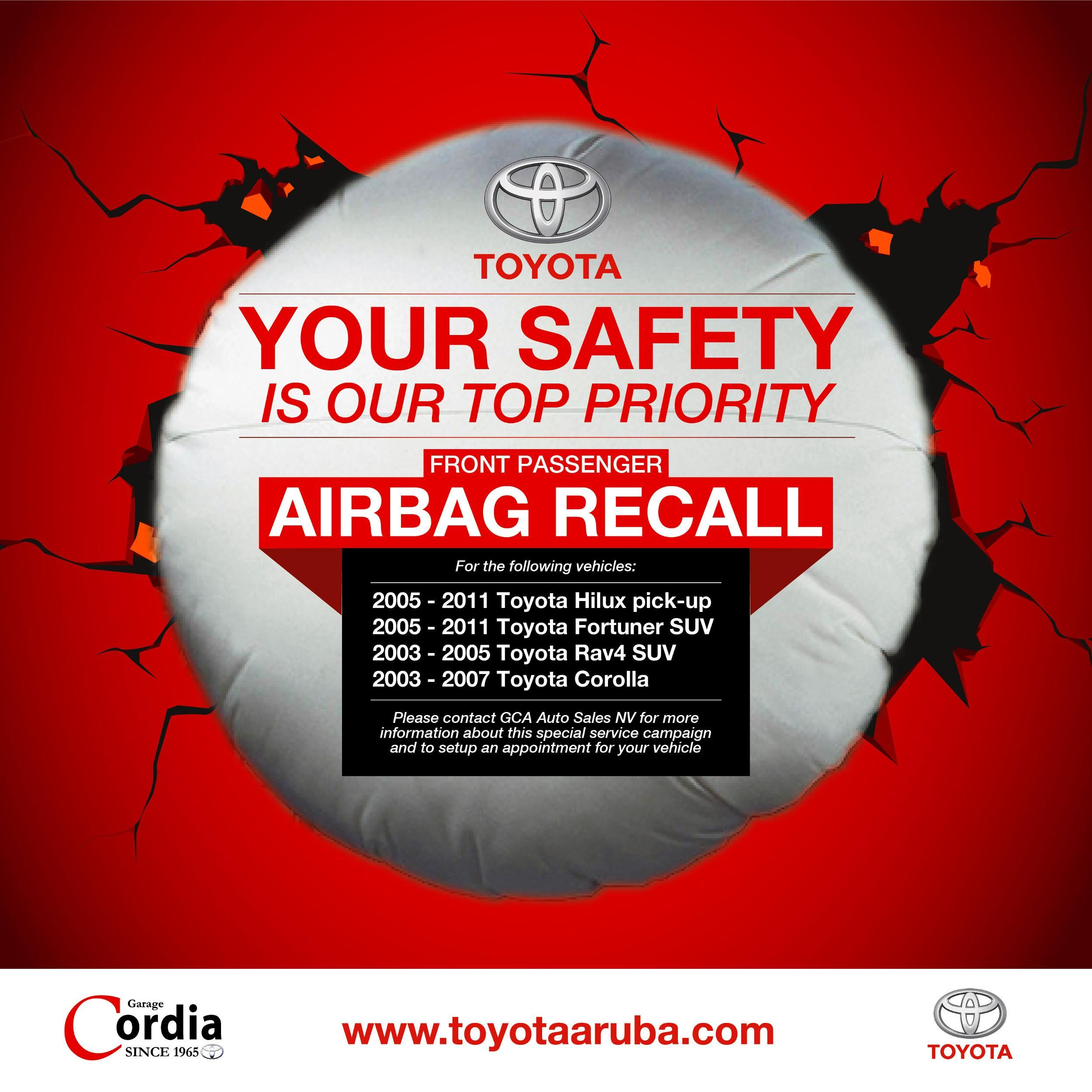 Toyota Front Passenger Airbag Recall
