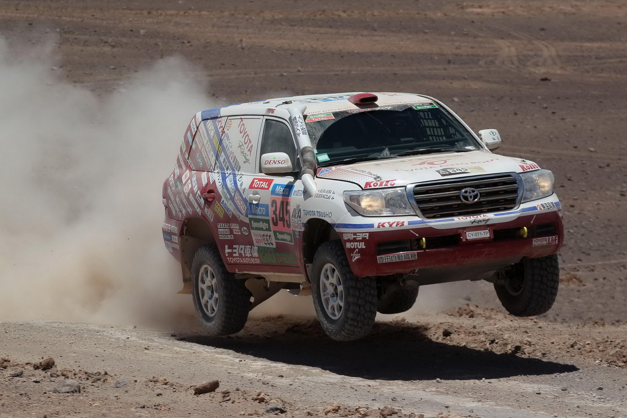Hilux of Giniel De Villiers (#303 Imperial Toyota) drove aggressively and finished 2nd in the stage A total of four Hiluxes finished in the top 10 today